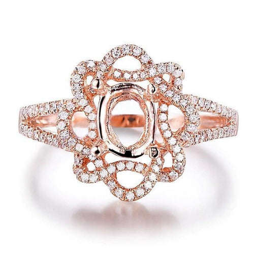 Real Natural Diamonds Semi Mount 7x5mm Oval Cut Fine Solid 14K Rose Gold Vantage Ring Jewelry Engagement Wedding Ring