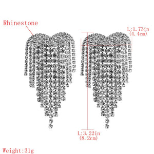 Crystal Heart Long Fringe Tassel Earrings Rhinestone Drop Dangle Big Earrings for Women Wedding Bridal Earrings - moonaro
