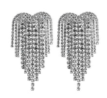 Load image into Gallery viewer, Crystal Heart Long Fringe Tassel Earrings Rhinestone Drop Dangle Big Earrings for Women Wedding Bridal Earrings - moonaro