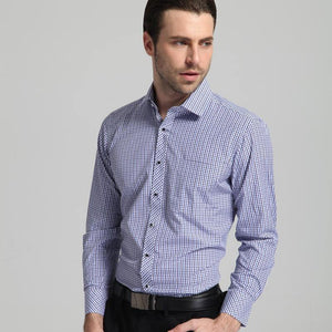 Men's Regular Fit Mini Plaid Checkered Dress Shirts Single Pocket Button Closure Smart Casual Long-Sleeve Thin Gingham Shirt