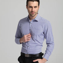 Load image into Gallery viewer, Men's Regular Fit Mini Plaid Checkered Dress Shirts Single Pocket Button Closure Smart Casual Long-Sleeve Thin Gingham Shirt
