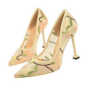 Lace Thin High Heel Pumps Spring Summer Women High Heels Shallow Embroider Woman Sexy Party Wedding Ladies Shoes - moonaro