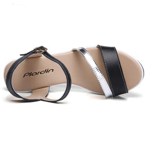 Shoes Summer platform Narrow Band Buckle Strap Style Flat Heel Soft Leather Casual Ankle Strap Woman Beach Sandals
