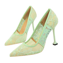 Load image into Gallery viewer, Lace Thin High Heel Pumps Women High Heels Shallow Embroider Woman Sexy Sweet Party Wedding Ladies Shoes