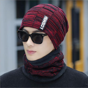 Winter Beanie Hat Scarf skullies beanies Soft Skull Warm Baggy Cap Mask Winter Knitted Hat