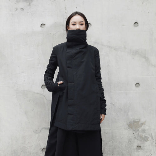New Fashion Winter Stand Lead Irregular Long Type Cotton-padded Clothes Loose Coat Solid Black Jacket Woman
