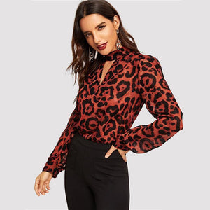 Keyhole Neck Cutout Leopard Chiffon Blouse Shirt Women 2019 Spring Vintage Long Sleeve Shirts Ladies Tops And Blouses