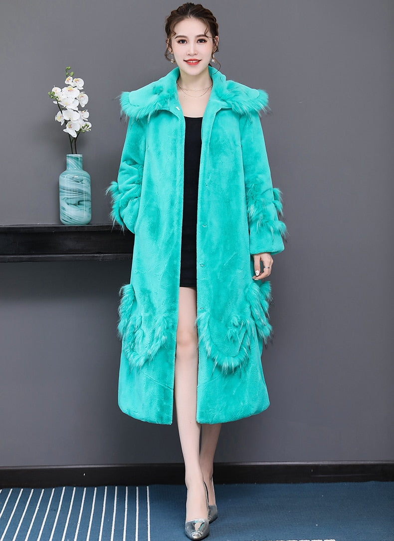 Big size faux fur coat woman long fluffy plus size patchwork fur outwear xxxl 5xl 6xl warm winter fashion overcoat - moonaro