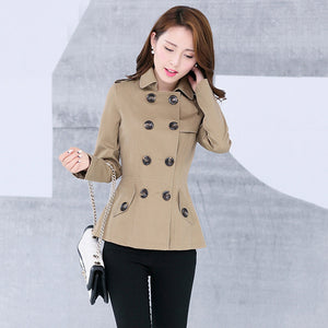 New Women's Trench Coat Autumn Spring Fashion Casual Slim Cotton Blends Coat Khaki Black Short Tops Outerwear Female