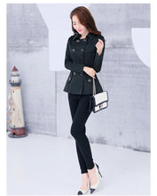 Load image into Gallery viewer, New Women's Trench Coat Autumn Spring Fashion Casual Slim Cotton Blends Coat Khaki Black Short Tops Outerwear Female