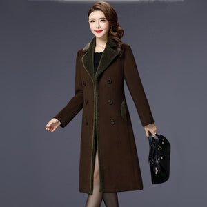 M-5XL New Women Wool Blends Coat Winter Fashion Mother Thicken Cashmere Collar Long Jacket Warm Slim Tops Outerwear Female