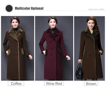 Load image into Gallery viewer, M-5XL New Women Wool Blends Coat Winter Fashion Mother Thicken Cashmere Collar Long Jacket Warm Slim Tops Outerwear Female