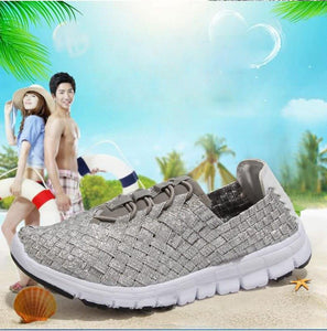plus size 35-44  Women Soft Mixed Color Leisure Flat Sandals For Woman Shoes Breathable Woven Color Sole Ladies Shoes