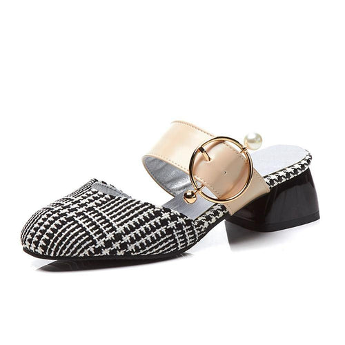 New Mules Square Med Heels Metal Decoration Shoes Woman Casual Party Summer Pumps