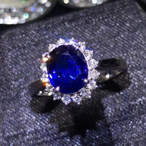 classic luxury 18k gold diamond 1.88ct natural blue sapphire gold ring for women wedding engagement - moonaro