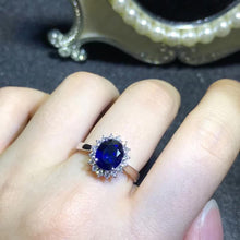 Load image into Gallery viewer, classic luxury 18k gold diamond 1.88ct natural blue sapphire gold ring for women wedding engagement - moonaro