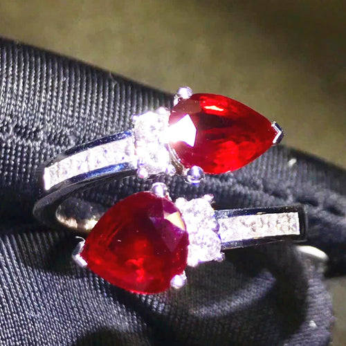 classic luxury adjustable 18k gold diamond 2.6ct red natural Ruby wedding engagement ring - moonaro