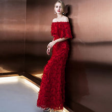 Load image into Gallery viewer, evening dresses Burgundy lace frock prom party  dress vestidos de festa boat neck long style sexy side slit - moonaro
