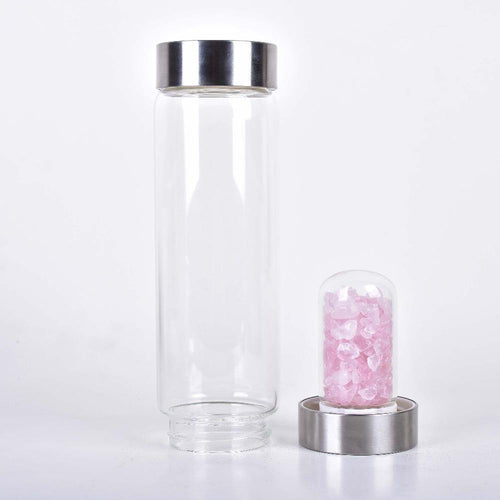 Energy Gem Crystal Quartz water Bottle Gemstone Glass water bottle For Health Hydrotherapy