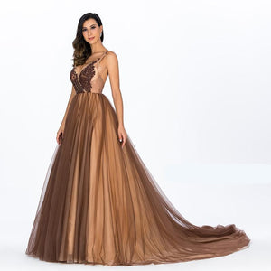 Deep V Sexy Lace Evening Dresses Gorgeous Champagne Backless Sleeveless Spagheti Strap Evening Gown Robe de soiree - moonaro