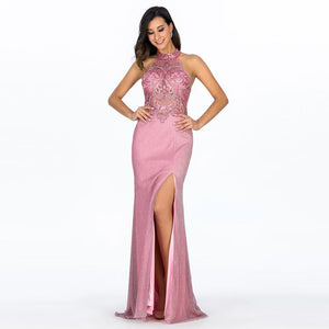 Evening Dresses Long Women Sexy High Split Backless Lace Sleeveless Pink Casual Elegant Party women Evening Dress - moonaro