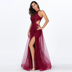 Red Sexy Lace Evening Dresses Long High Split Backless Sleeveless Tulle Gowns for Wedding Party Robe de Soiree longue