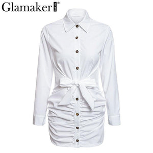 Sexy white pleated buttons bodycon dress Women long sleeve mini dress elegant Female casual party club dress vestidos