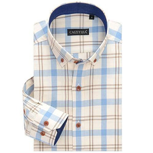 Men's Smart Casual Cotton Checkered Plaid Dress Shirts Comfortable Long-sleeved Standard-Fit Button Down Collared Gingham Shirt