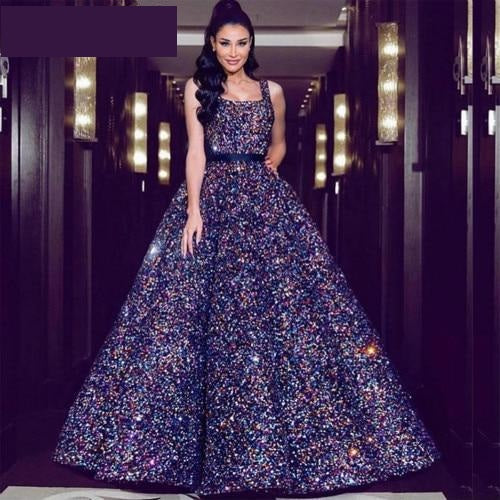 Long Ball Gown Luxury High End Glitter Sequin Lace  Women Evening Dresses