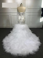 Load image into Gallery viewer, Custom Made Sexy Luxury Mermaid Crystal Beaded Wedding Dresses Long Formal Bridal Gowns Robe De Soiree - moonaro