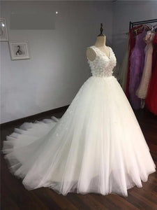 Long Train Vintage Lace Up Princess Wedding Dresses White Bridal Ball Gown Robe de Mariee