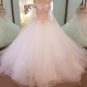 Sequined Pearls Sparkly  Ball Gown Wedding Dresses Princess Bridal Wedding Dress with Colorful Lace