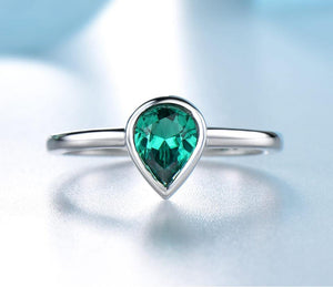 Emerald Gemstone Rings For Women Genuine 925 Sterling Silver Christmas Wedding Engagement Valentine's day Fine Jewelry