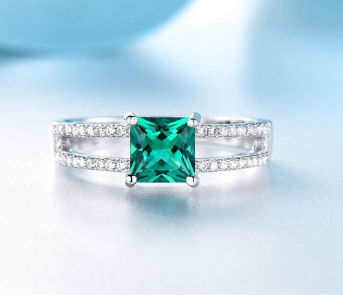 Solid 925 Sterling Silver Emerald Rings For Women Wedding Party Anniversary Ring Square Cut Gemstone Jewelry
