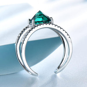 Green Emerald Gemstone Rings For Women Solid 925 Sterling Silver Ring Silver Wedding Engagement  Band Fine Jewelry