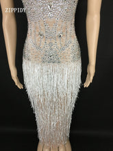 Load image into Gallery viewer, Sparkly White Tassel See Through Rhinestones Dress Women's Birthday Celebrate Mesh Dress Fringes Costume Dance Outfit