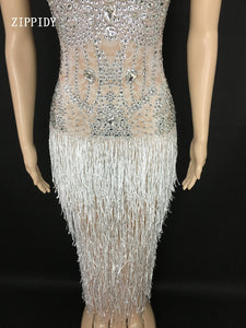 Sparkly White Tassel See Through Rhinestones Dress Women's Birthday Celebrate Mesh Dress Fringes Costume Dance Outfit
