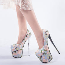 Load image into Gallery viewer, 20cm High Heels Platform Shoes Women Ethnic Style Flower Thin Heel Pumps