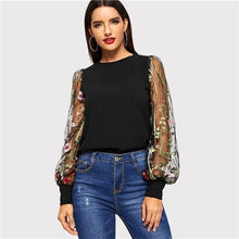 Load image into Gallery viewer, Black Embroidered Floral Sheer Mesh Casual Blouse Women's 2019 Spring Long Sleeve Elegant Shirt Ladies Tops And Blouses - moonaro