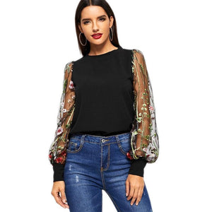 Black Embroidered Floral Sheer Mesh Casual Blouse Women's 2019 Spring Long Sleeve Elegant Shirt Ladies Tops And Blouses - moonaro