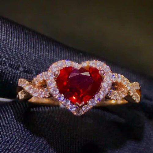 classic luxury 18k rose gold real diamond 1.31ct natural red Ruby ring for women - moonaro
