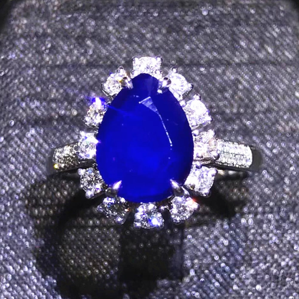 luxury 18k gold real diamond 3.29ct natural Unburnt blue sapphire ring for women engagement wedding