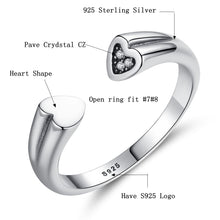 Load image into Gallery viewer, 925 Sterling Silver Open Rings Crystal Cubic Zirconia Heart Ring for Women - moonaro