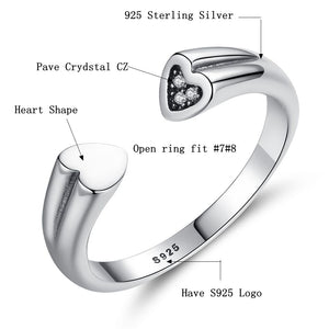925 Sterling Silver Open Rings Crystal Cubic Zirconia Heart Ring for Women - moonaro