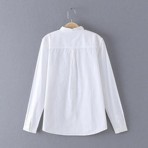 White Blouse Women Shirt Cotton Tops Sweets Stand Collar Stand Collar Long Sleeves Blusas Femininas