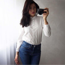 Load image into Gallery viewer, White Blouse Women Shirt Cotton Tops Sweets Stand Collar Stand Collar Long Sleeves Blusas Femininas