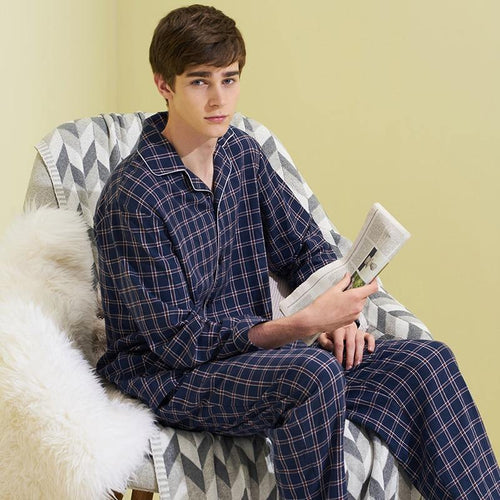 Winter Plaid Pajamas Sets Long Sleeves Sleepwear Cardigan Men Print Casual Lounge Wear