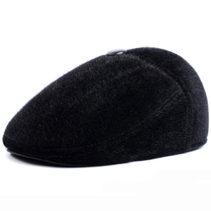 Winter Hats with Earflap Casual Male Beret Faux Mink Fur Dad Hat Thick Warm Beret Caps for Men