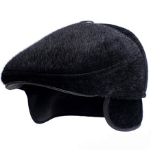 Load image into Gallery viewer, Winter Hats with Earflap Casual Male Beret Faux Mink Fur Dad Hat Thick Warm Beret Caps for Men