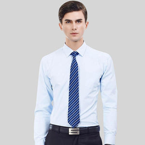 Men's Regular-fit Long Sleeve Basic Solid Dress Shirt Patch Single Pocket Male Formal Business Social Shirts Office Working Wear